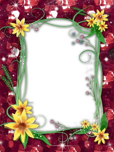 Red Flower Frame PNG Transparent Image