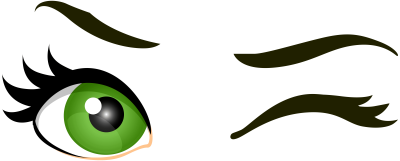 green-winking-eyes
