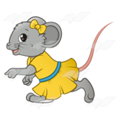 Abeka | Clip Art | Girl Mouse—with a yellow dress and bow