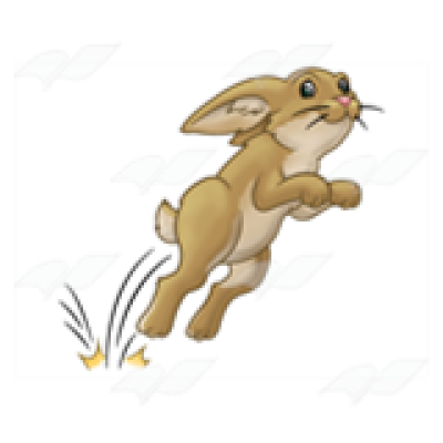 Abeka | Clip Art | Hopping Rabbit—tan, with motion lines