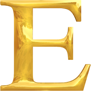 Gold typography E
