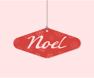 Noel Christmas Ornament Squareish