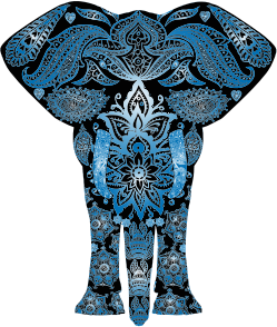 Blue Floral Pattern Elephant