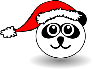 Funny panda face black and white with Santa Claus hat
