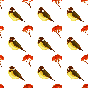 Bird and pome seamless pattern