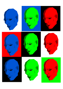 Simple face in different colors