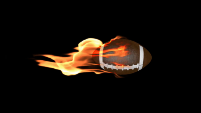 American football on Fire with Alpha Stock Video Footage ...