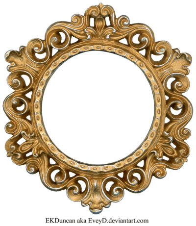 Golden Round Frame PNG Photo