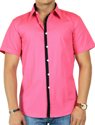 dot-printed-pink-half-shirt