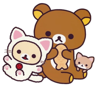 rilakkuma-bear-and-cat-friends-eating-fish