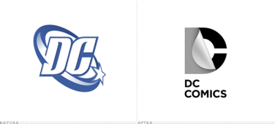 DC Comics Logo, Before and Af