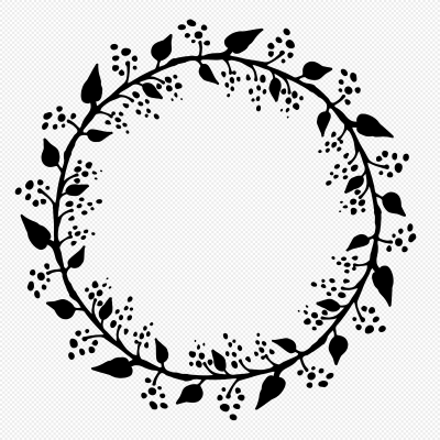 Hand painted black flower vine wreath png image picture free ...