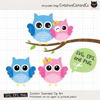 Cute Owl Couple SVG DXF Files for Cricut and Silhouette Valentine ...