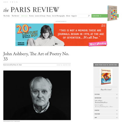 Are.na / John Ashbery, The Art of Poetry No. 33
