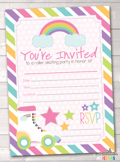 Download Free Png Pink Roller Skating Party Printable Birthday Party