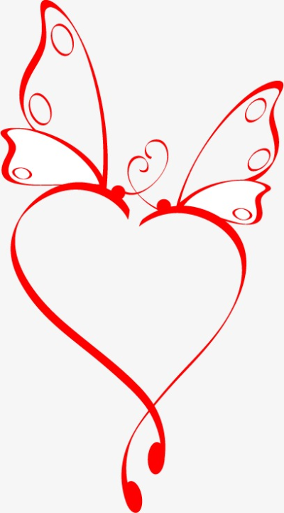 Valentine Love Red Butterfly Elements, Valentine Vector, Love ...