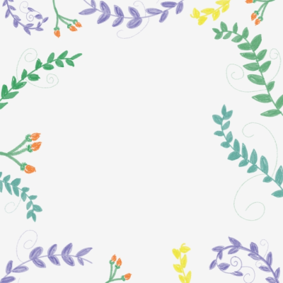 Leaves Flowers Frame Free Png, Purple, Green, Blue PNG Image and ...