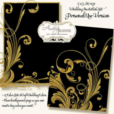 PERSONAL USE Weddings Engraved Foliage Swirl Scroll Motif Modern ...
