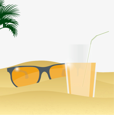 Beach Sunglasses Drink Scene, Decorative Pattern, Cartoon ...