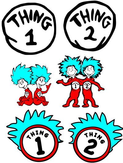 graphic regarding Thing 1 and Thing 2 Printable Clip Art named Issue 1 And Factor 2 Printable PNG -