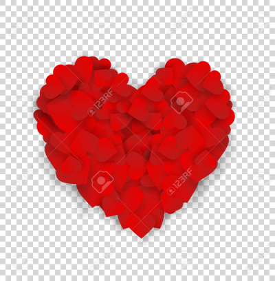 Big Red Heart Made Of Small Hearts Isolated On Transparent ...