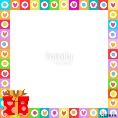 cute border made of doodle hearts with red gift box with ribbon in ...