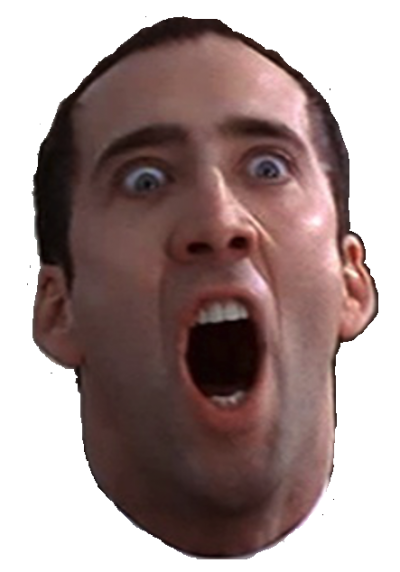 I couldn't find a png of Nicolas Cage screaming, so I made my own ...