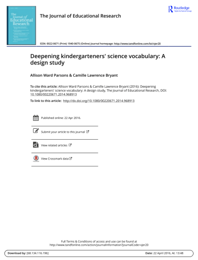 PDF) Deepening kindergarteners' science vocabulary: A design study