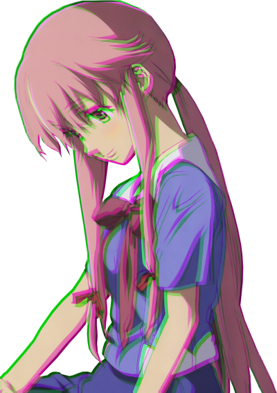yuno gasai png Glitch - Sticker by ayeri 455