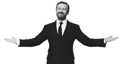 Ricky Gervais Black and White transparent PNG - StickPNG