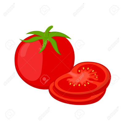Red Tomatoes And Slices. Cartoon Flat Tomato. Vegetarian Fresh ...