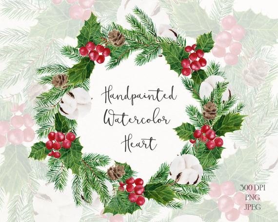 Holly holiday wreath clipart holly with berries wreath clip | PNGio