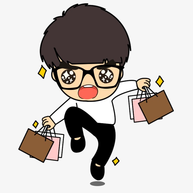 Shopping Bag Boy, Cute Cartoon, Cartoon Creative, Colored Cartoon ...