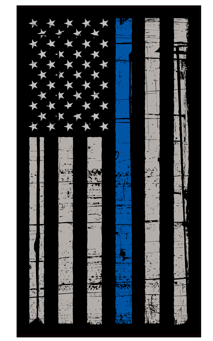 Blue United Police Tree States Thin Line