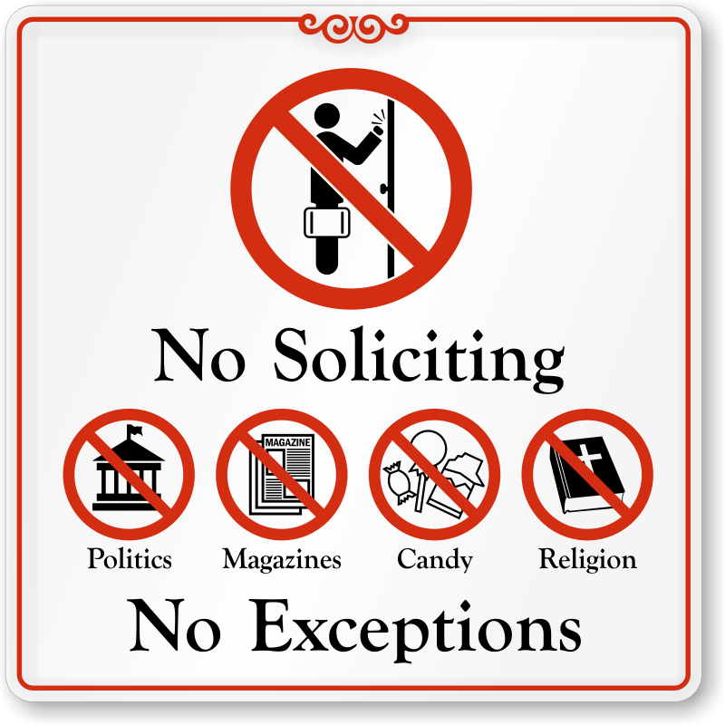 No Soliciting Door Signs | No Soliciting Signs