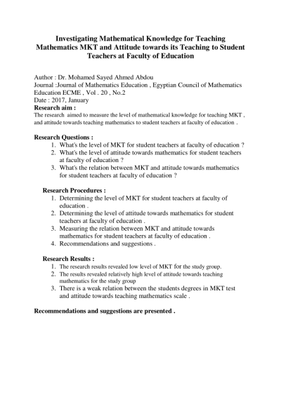 PDF) Investigating Mathematical Knowledge for Teaching Mathematics ...