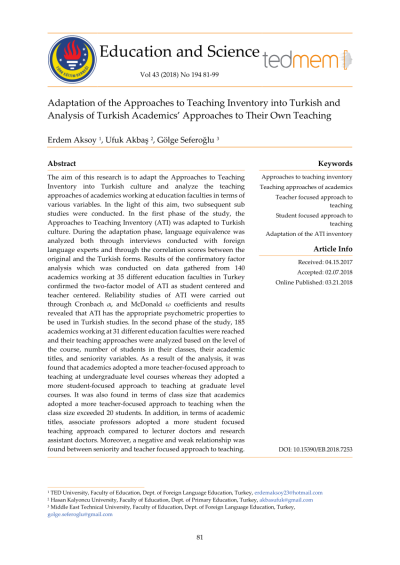 Changing Approaches to Teaching: A Relational Perspective ...