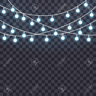 Set Of Overlapping, Glowing String Lights On A Transparent ...