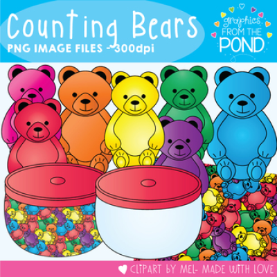 Counting Bear Clip Art - Teddy Bear Counters for Teaching Math | TpT