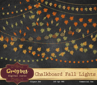 Chalkboard Fall String Lights Clip Art autumn chalk clipart | PNGio