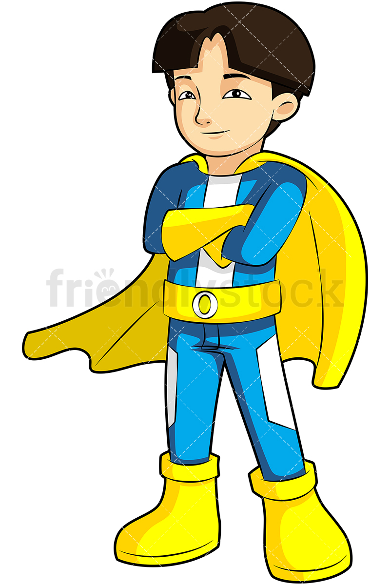 Asian Boy Superhero Cartoon Vector Clipart - FriendlyStock