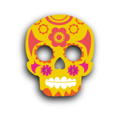 Yellow decorative sugar skull - Transparent PNG & SVG vector