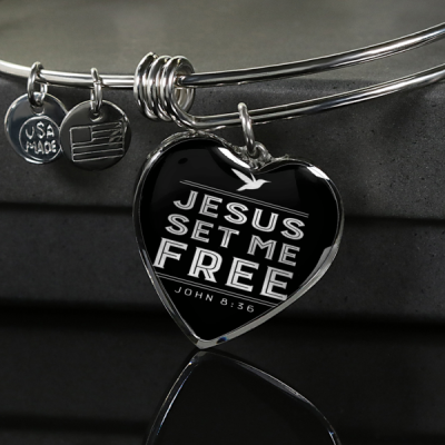 Jesus Set Me Free Heart Bangle Bracelet - Designs by Stella