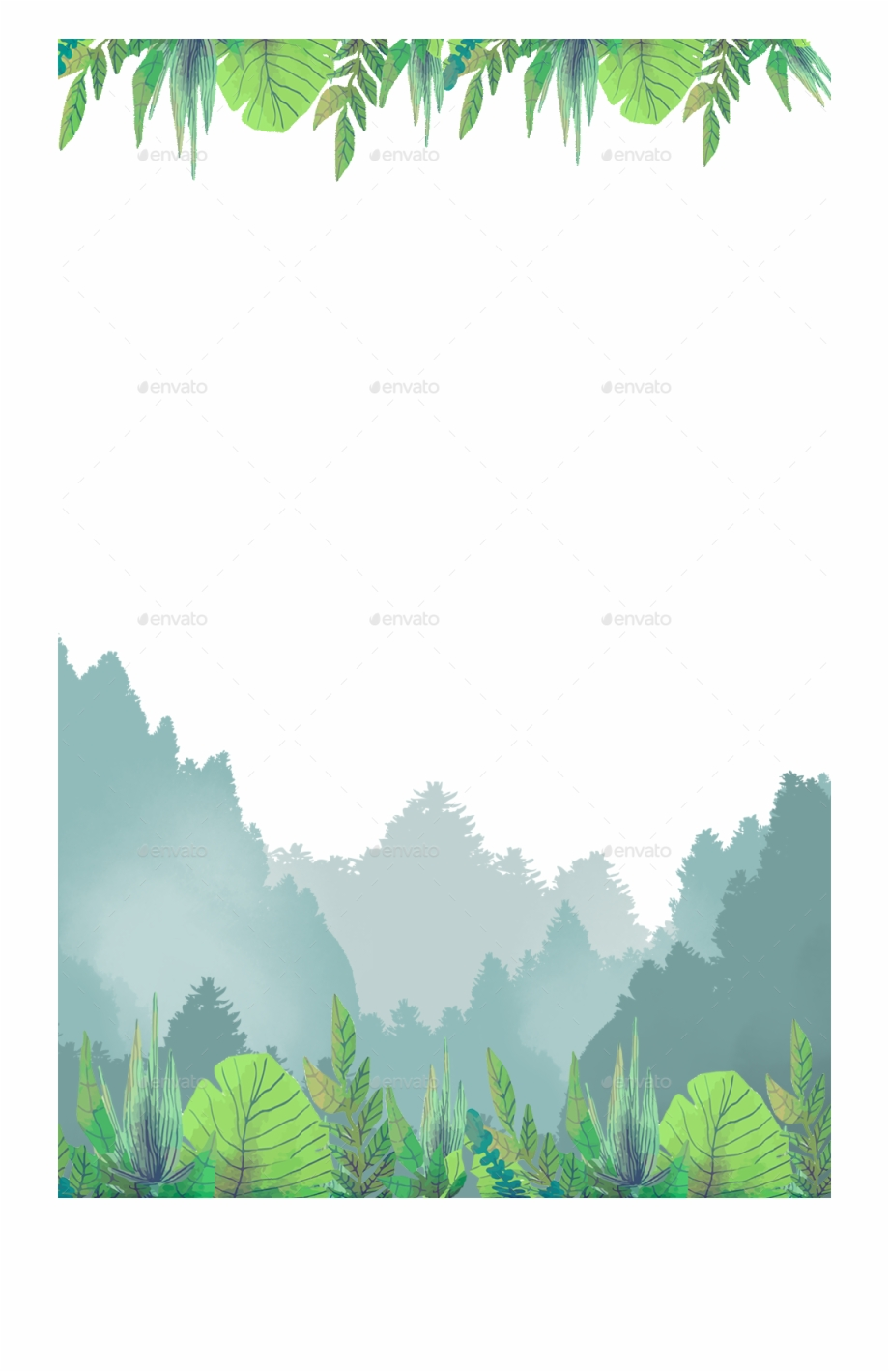 Forest Plants Green Theme Border Spring - Palm Tree Free PNG ...