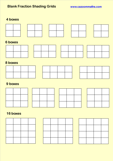 Blank Fraction Shading Grids | Math worksheets, Teaching methods ...