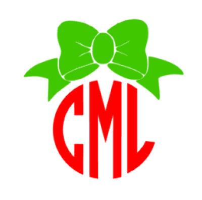 Christmas Bow Monogram Decal – CK Designs and Boutique