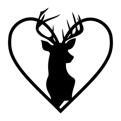 Stag Head Heart Deer graphics design SVG DXF by vectordesign on Zibbet