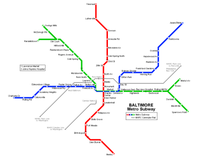 The complete Baltimore Metro Subway network, as per the original ...