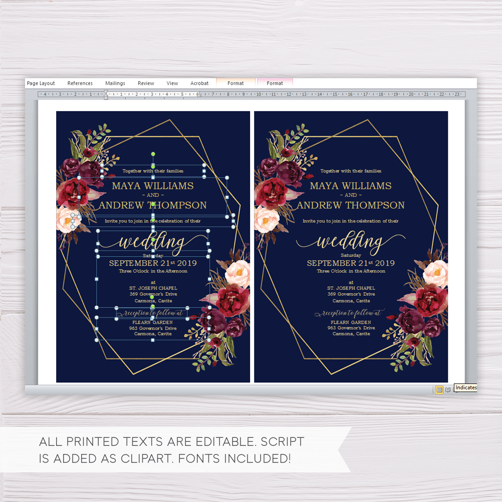 Navy Blue with Marsala Flowers & Gold Frame Wedding Invitation ...