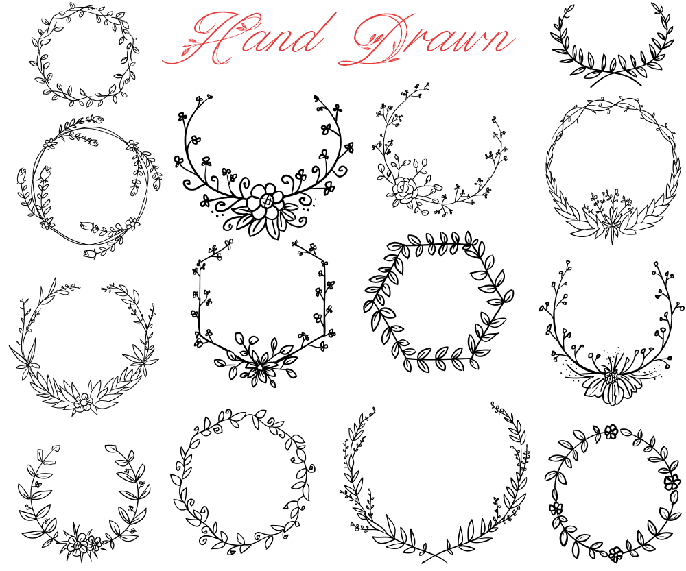Hand Drawn Wreath SVG and PNG Bundle – Crella